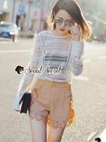 Seoul Secret Say's...T-Shirt Lace Sweater Circle Pant Set