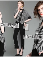 🎀 Lady Ribbon's Made 🎀Lady Poppy Minimal Chic Striped Top with Scarf and Black Pants Set