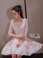 🎀 Lady Ribbon's Made 🎀 Lady Leona Sweet Allure Off-Shoulder Pink and White Lace Dress