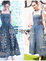 🎀 Lady Ribbon's Made 🎀 Lady Michelle Gold Motif Embroidered Denim Dress