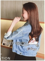 🎀 Lady Ribbon's Made 🎀Lady Bella Little Kitten Embroidered Denim Jacket