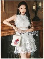 🎀 Lady Ribbon's Made 🎀 Lady Layla Baby Pink Ruffle Layered Embroidered Lace & Cotton Dress ขาว