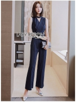 🎀 Lady Ribbon's Made 🎀 Lady Natalia Smart Casual Tailor Striped Jumpsuit