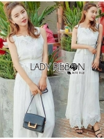Lady Ribbon's Made Lady Fiona Easy Casual White Cotton and Lace Jumpsuit with Ribbon