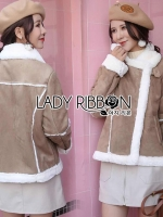 🎀 Lady Ribbon's Made 🎀 Lady Carley Winter Suede Shearling Coat น้ำตาลเข้ม