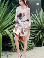 Seoul Secret Say's... Peacock Peachy Printed Dress