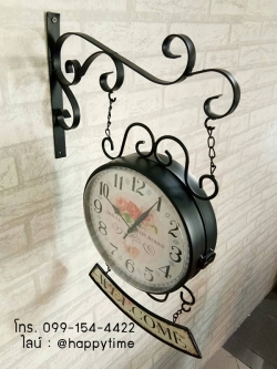 นาฬิกาติดผนัง Vintage รุ่น Welcome ดำ