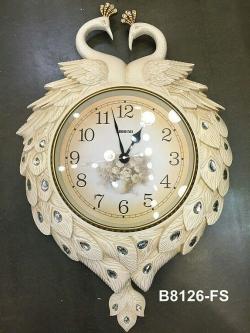 นาฬิกาติดผนัง แขวนผนังตกแต่งบ้าน รูปหงส์คู่สีขาว