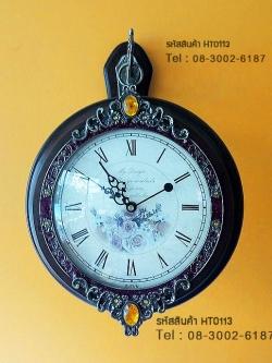 นาฬิกาแขวนติดผนัง 2 หน้า ทำจากไม้จริง ประดับด้วยคริสตัลสวยๆ