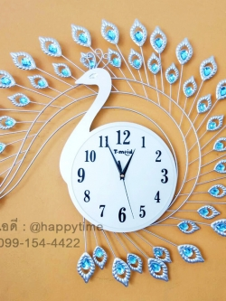 นาฬิกาติดผนัง รุ่นนกยูงเงินพลอยฟ้า