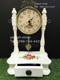 นาฬิกาวินเทจตั้งโต๊ะเก๋ๆ มีลิ้นชักใส่ของเล็กๆน้อยๆ ทำจากไม้และโลหะ
