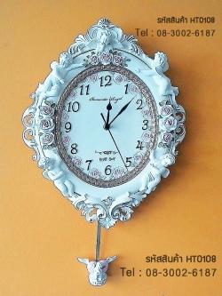 นาฬิกาติดผนังตกแต่งบ้านทรงโรมัน Bear Boy ประดับด้วยคิวปิดน้อยและดอกกุหลาบ