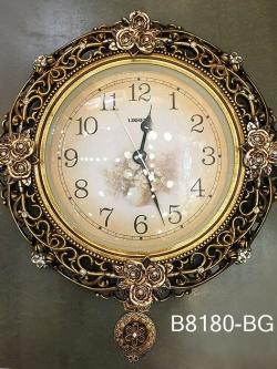 นาฬิกาติดผนังประดับบ้านสไตล์ยุโรป ประดับลวดลายกุหลาบทอง