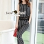 Seoul Secret Say's .... Harmony Stripy Lace Jump Waist Chic Set สีดำ thumbnail 3