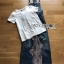 Lady Ribbon's Made Lady Tanya White T-Shirt and Sequin Embroidered Denim and Lace Overall Dress Set thumbnail 12