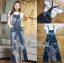 Lady Ribbon's Made Lady Tanya White T-Shirt and Sequin Embroidered Denim and Lace Overall Dress Set thumbnail 6
