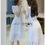 Lady Ribbon's Made Lady Leah Striped Layered White Lace Dress thumbnail 8
