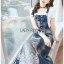 Lady Ribbon's Made Lady Tanya White T-Shirt and Sequin Embroidered Denim and Lace Overall Dress Set thumbnail 4