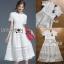 Lady Ribbon's Made Lady Leah Striped Layered White Lace Dress thumbnail 5