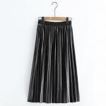 กระโปรงผ้ากำมะหยี่ยาว เอวยืด (มีให้เลือก 4 สี)