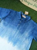 เสื้อโปโลเชิ๊ตผู้ชาย ผ้าออแกนิคคอตตอน ย้อมคราม มีขนาด Size:XS,S,M,L,XL