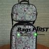 กระเป๋าเดินทางล้อลากผ้าเซ็ตแม่ลูก สีเทา ลายน้ำหอมไอเฟล