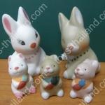 ตุ๊กตาเซอรามิคครอบครัวคุณกระต่าย 5 ตัว