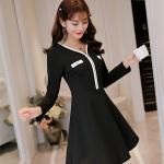 Pre order ชุดเดรสแขนยาว สีดำ ชุดสุภาพสตรีน่ารักเสื้อผ้าเอวเข้ารูป สินค้ามีสีเดียวสีดำ ขนาดสินค้า S-XXL (สินค้ามีจำนวนจำกัด)