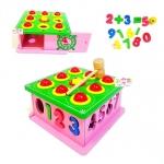 กล่องไม้บล็อคหยอดตัวเลข+ค้อนทุบลูกบอล 9 ช่อง
