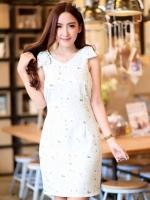 DS0020 เสื้อผ้าแฟชั่น เสื้อผ้าเกาหลี เสื้อผ้าแฟชั่นเกาหลี เดรสเกาหลี เดรสทำงาน แซก ชุดเดรส เดรสน่ารัก เดรสสั้น เดรส Dress