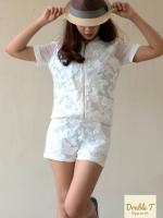 เสื้อผ้าแฟชั่น เสื้อผ้าเกาหลี ชุดเซท ชุดเซต เสื้อกางเกง เสื้อคอวี เสื้อเอวลอย กางขาสั้น ชุดลายดอก Poppular Set เซ็ตเสื้อแขนสั้นดีไซน์ใส่ซิป กางเกงขาสั้น