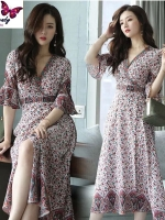 MD0014 เสื้อผ้าแฟชั่นเกาหลี เดรสเกาหลี เดรสยาว เดรสแฟชั่น แม็กซี่เดรส Maxidress ลายดอก Maxi Dress (สีชมพู)