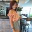 TP0014 เสื้อผ้าแฟชั่น เสื้อผ้าเกาหลี เสื้อเปิดไหล่ (สม็อคไหล่,เอว ) เสื้อแขนตุ๊กตา thumbnail 3