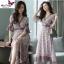 MD0014 เสื้อผ้าแฟชั่นเกาหลี เดรสเกาหลี เดรสยาว เดรสแฟชั่น แม็กซี่เดรส Maxidress ลายดอก Maxi Dress (สีชมพู) thumbnail 1