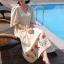 MD0016 เสื้อผ้าแฟชั่นเกาหลี เดรสเกาหลี เดรสยาว เดรสแฟชั่น แม็กซี่เดรส Maxidress ลายดอก Maxi Dress (สีครีม) thumbnail 1
