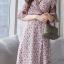 MD0014 เสื้อผ้าแฟชั่นเกาหลี เดรสเกาหลี เดรสยาว เดรสแฟชั่น แม็กซี่เดรส Maxidress ลายดอก Maxi Dress (สีชมพู) thumbnail 3