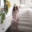 MD0013 เสื้อผ้าแฟชั่นเกาหลี เดรสเกาหลี เดรสยาว เดรสแฟชั่น แม็กซี่เดรส Maxidress ลายดอก Maxi Dress (สีชมพู) thumbnail 3