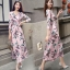 MD0013 เสื้อผ้าแฟชั่นเกาหลี เดรสเกาหลี เดรสยาว เดรสแฟชั่น แม็กซี่เดรส Maxidress ลายดอก Maxi Dress (สีชมพู) thumbnail 1