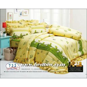ชุดเครื่องนอน ผ้าปูที่นอน ทิวลิป-tulip ลายใบไม้ รุ่น 722