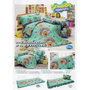 ชุดเครื่องนอน ผ้าปูที่นอน ลายการ์ตูน สปองบ๊อบ ยี่ห้อ ทิวลิป รุ่นS008