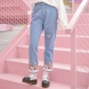 Pre-Order กางเกงยีนส์ขายาวบุกำมะหยี่ด้านใน ขอบลายน้องหมาคอร์กี้
