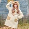 Pre-Order เดรสสเวตเตอร์ฮู้ดหูหมีแต่งขนสัตว์เทียม ลายหมีน้อย