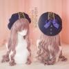 Pre-Order หมวกเบเร่ห์สีกรมท่าติดโบว์และดิ้นทอง สไตล์Marine