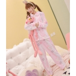 Pre-Order ชุดนอนขนนุ่มนิ่มพิมพ์ลายการ์ตูน สีชมพู-ขาว