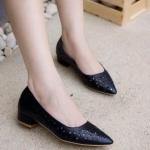 รองเท้าส้นเตี้ย H1523A-BLK [สีดำ]