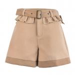 Pre-Order กางเกงขาสั้นพร้อมเข็มขัดผ้าWool สีกากี แต่งระบาย