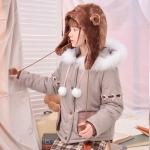 Pre-Order หมวกกันหนาวคุณหมีขนนุ่ม ห้อยปอมปอม