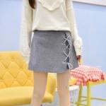 Pre-Order กางเกงกระโปรงสั้น ร้อยเชือกข้างตัว ผ้าWool มี2สี