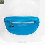 กระเป๋าคาดเอววิ่ง กันน้ำ สีฟ้า Size L มี 3 ซิป เสียบหูฟังได้