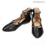 รองเท้าส้นเตี้ย QY-2246-BLK [สีดำ]